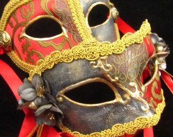 OOAK Game of Thrones Inspired Paired Masks, Lannister Pair #2, Male and Female brocade covered eyemasks in red and gold