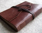 "Leather journal / travel journal, 5.5""x 7.5 rustic brown, handmade journal by Dancing Grey Studio(1888)"