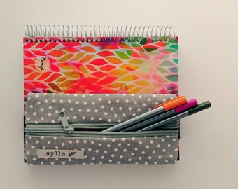 SALE - Polka Dot Pencil Case, Pencil Pouch, Pencil Bag, handbag, Gray