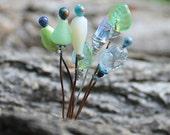 Glass Leaf and Flower Headpins