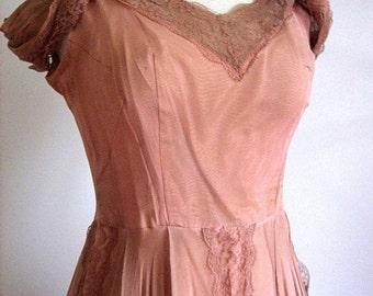 Retro Vintage DRESS Modern Jackie O MOD Wide Skirt Heather Pink Lined Chiffon