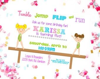 Rainbow gymnastics birthday invitation - gymnastic invitation - gymnastic birthday party - gymnastic birthday - gymnastic printable invite