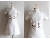 1960s Dress / Vintage Ivory Shantung Knot Front 60s Dress