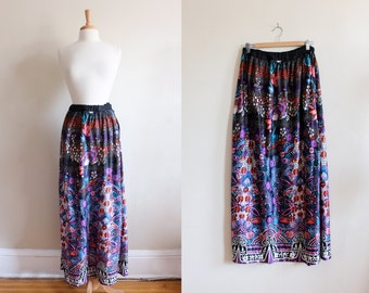 1960s Skirt / Vintage Pink, Purple & Black Floral Maxi Skirt