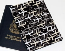 Passport Cover, Document Holder, Pieced Front, Black Grey Airplanes