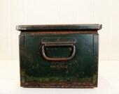 Vintage Green Metal Bin Industrial Storage or Decor