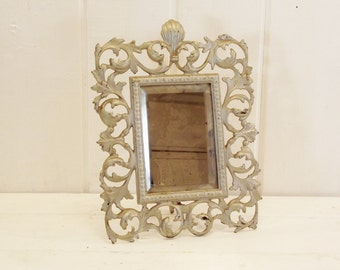 Vintage Cast Iron Mirror with Ornate Frame Standing Beveled Mirror with Easel Back