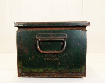 Vintage Green Metal Bin, Industrial Storage, Decor, Metal Tote with Handles, Shelf, Rusty Patina