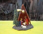 Vintage Mini Nativity Creche Plastic Christmas Kitsch