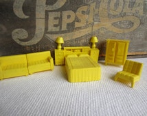 Vintage 1950s 1960s Superior Dollhouse Furniture Bedroom Couch Yellow