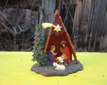 Vintage Mini Nativity Creche Plastic Christmas Kitsch