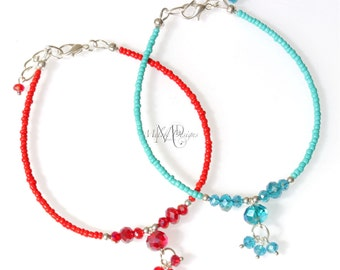 Chinese Crystal Beaded Anklet Turquoise Red