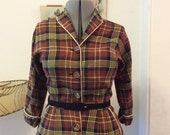 SALE Sharp Toni Todd 1950's Brown Black and Yellow PLAID Button Front WIGGLE Dress