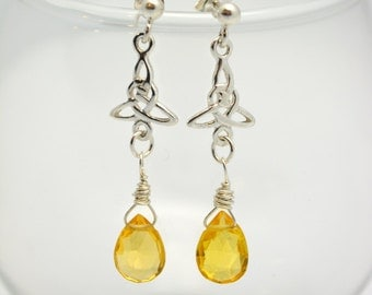 Citrine Celtic Earrings. Sterling Celtic Triad Posts with genuine citrine briolette gems, wrapped in sterling wire. Gorgeous, handcrafted.