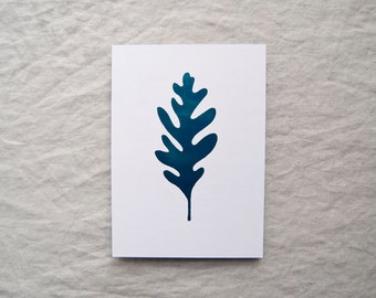 Oak leaf botanical print in metallic teal foil leaf botany shiny limited edition 'Botanique Electrique' collection
