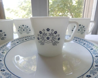 Vintage Pyrex Milk Glass Mugs and Plates in Blueberry Summer Impressions Pattern
