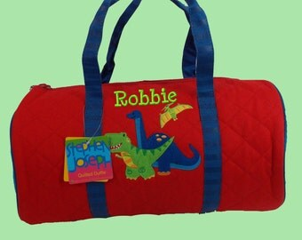 Child's Monogrammed Stephen Joseph Newest Style DINO Quilted Duffle Bag