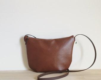 Small Leather Crossbody, Brown Shoulder Bag, Cognac Vegan Leather