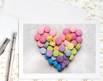 Valentine's Card, Heart Shaped, Macaron Note Card, Blank Card, Greeting Card, Stationery