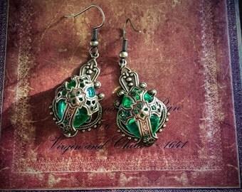 Light Green Medieval Cross Earrings