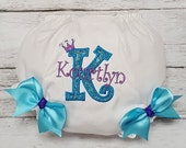 PURPLE an TURQUOISE PERSONALIZED  Name and Initial Crown Tiara Diaper Cover Bloomers Infant Toddler Child