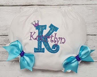PURPLE and TURQUOISE PERSONALIZED  Name and Initial Crystal Crown Tiara Diaper Cover Bloomers Infant Toddler Child
