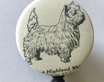 West Highland Terrier Vintage Dictionary Badge Holder