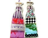 Long Dresses Lady Ornaments Set of Two Doll Decorations Handmade Flat Fabric Tiny Dolls Set Of Two Bright Flower Dressed Ladies