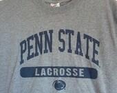 SALE Penn State Lacrosse tshirt shirt men college frat m medium grey