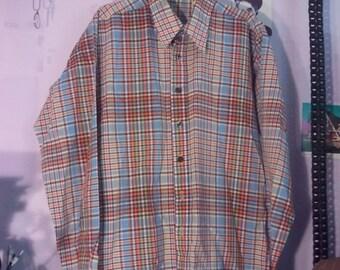 FLASH SALE 80s plaid shirt tartan dress shirt eighties 90s l grunge boho preppy hipster