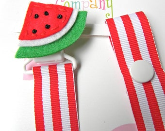 Pacifier holder, pacifier clip, watermelon pacifier clip, watermelon baby gift, binky clip, binky holder, baby shower gift, paci clip