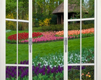 Wall mural french door, self adhesive, Lisse gardens with hut view, Holland 48x72- free US shipping