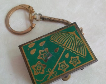 Vintage tiny mini box green flowers umbrella picture - japanese souvenir keychain