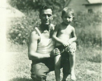 Father And Son 1930s Summer Daddy's Lap Hot Day 30s Vintage Black and White Photo Photograph
