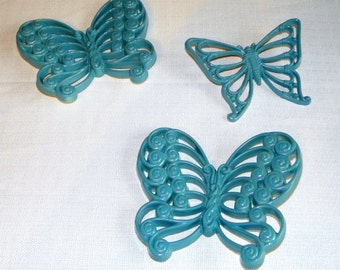 Butterfly Wall Plaques, Set of 3 Homco Wicker Teal Butterflies, 3 Dimentional Flying Butterflies
