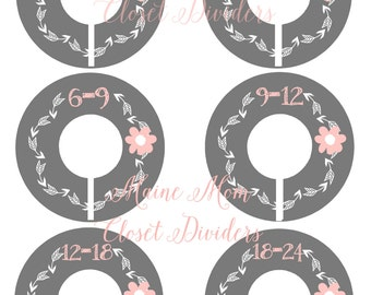 6  FULLY ASSEMBLED Closet Dividers Organizers, Baby Shower Gift, Woodland Nursery Decor, Gray, Pink, Gray, Pink Flower, Tribal Baby Clothes