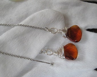 Created Topaz Faceted Briolette Drop Earring Threads