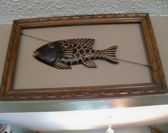 wood fish  in a antique frame art