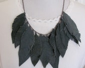 Beautiful Dark Green Suede Leather Feather Style Necklace and Earrings Set