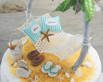 Beach Theme Honeymoon Hammock Wedding Cake Topper Custom Colors Handmade To Order With Palm Trees, Flip Flops, And More