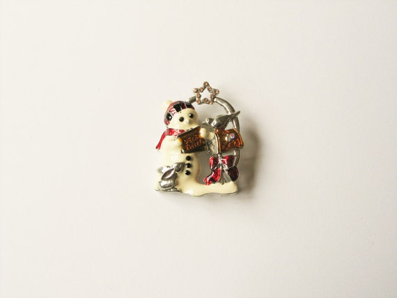 Snowman Christmas brooch: Lovely silver plated and white enamel snowman brooch in coloured enamel, Christmas brooch, Christmas pin