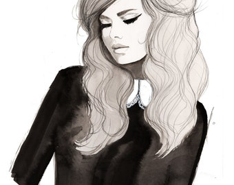 Julia, print from original watercolor and pen fashion illustration by Jessica Durrant
