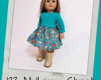 Doll Clothes fit dolls like American Girl - Teal Shirt and Teal Paisley Corduroy  Skirt, fit doll like American Girl, Maplelea