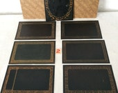 Victorian Photo Mat Frames...Wedding Table Numbers...Lot of 6 New Old Stock...Steampunk Midnight Black and Gold Mats...Lot #2