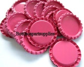 50 pcs Flattened HOT PINK Double Sided Factory Painted Linerless Bottle Caps.    2 Sided  Caps