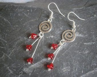Red Flower swirl  Earrings  glass beads hypo Allergenic earwires Jewellery Jewelry