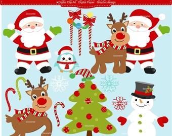 ON SALE Christmas clip art, Santa claus clip art, Christmas graphic, reindeer digital clip art, instant download