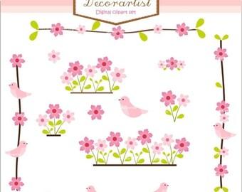 ON SALE instant download Digital clipart, birds clipart, flowers clipart, pink flowers border clipart, birds n flowers, pink clipart