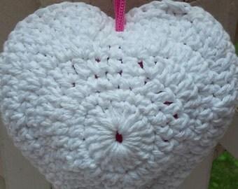 Heart Shaped Scrubby Shower Sponge, Puff, Cotton, Washcloth