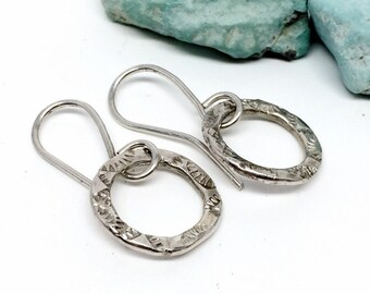 Sterling Silver Hoop Earrings, Silver, Dangle Earrings, Gifts for Women, Western Jewelry